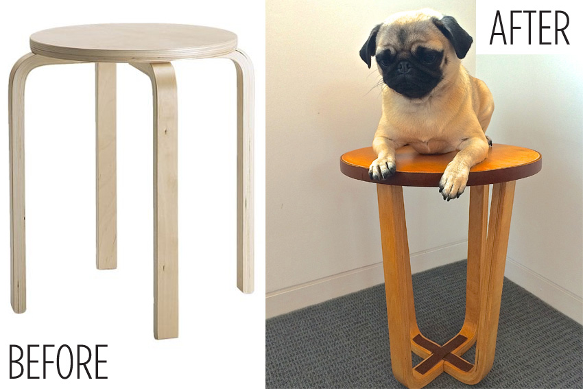 Ikea Hack Frosta Stool Leather And Maple Stain Hardly Handy