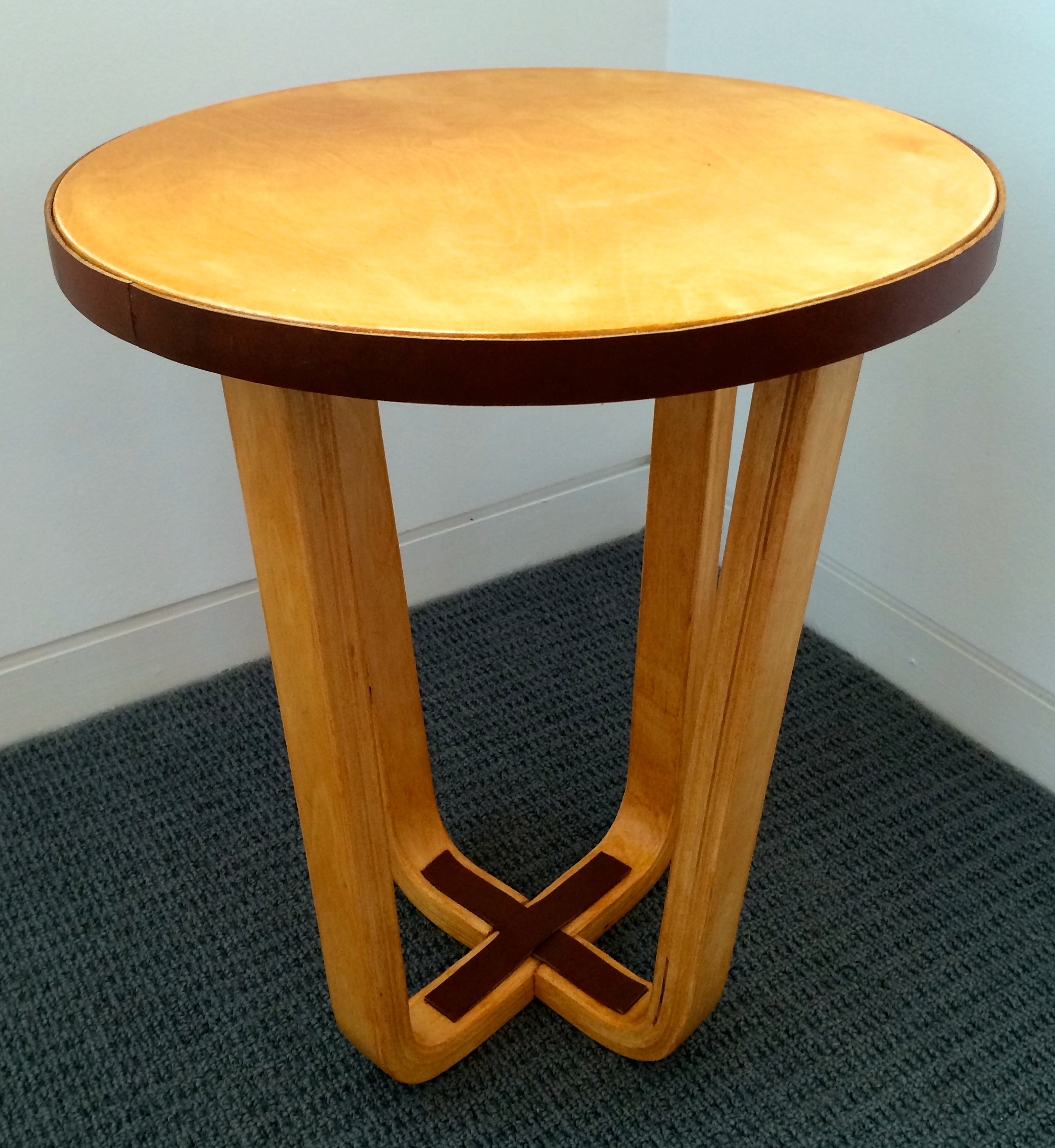 Stool Ikea: Leather And Maple Stain