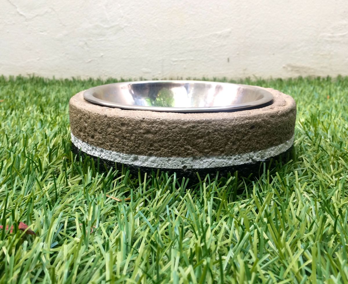 DIY Monochrome Concrete Dog Bowl